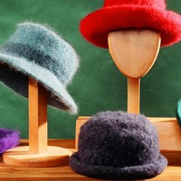 Warm Knitted Felted Hats - 4 Brim Styles