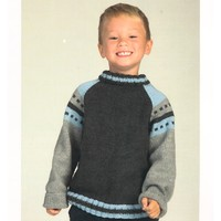 2059 Worsted Merino Superwash Striped Raglan Pullover