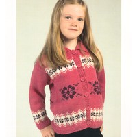 2067 Worsted Merino Superwash Girl's Fairisle Jacket