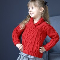 2566 Kid's Shawl Collar Cabled Pullover (Worsted Merino SW)