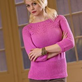 Plymouth Yarn 2568 Woman's Lace Yoke Pullover