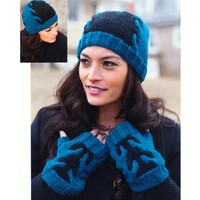 2769 Adult Fingerless Mitts & Hat