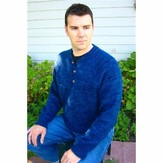 Knitting Pure & Simple 255 Henley Neck Down Pullover For Men