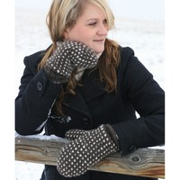 Thrummed Knit Mittens with Marly Bird